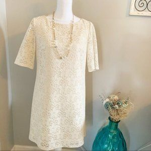 Sangria Lined White Lace Dress